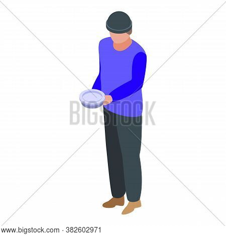 Jobless Man Need Food Icon. Isometric Of Jobless Man Need Food Vector Icon For Web Design Isolated O