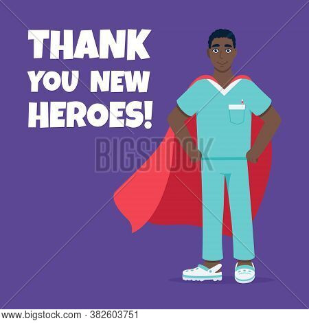 Young Male Nurse Hospital Medical Employee With Hero Cape Behind Fights Against Diseases And Viruses