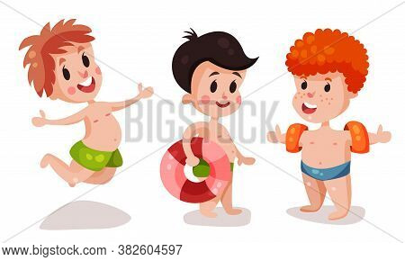 Funny Boys In Beach Wear With Rubber Ring And Armband Swimming And Playing Vector Illustration Set