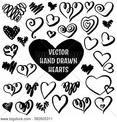 Set Of Hand Drawn Sketch Hearts. Vector 10 Eps Illustration. Isolated On White Background.
