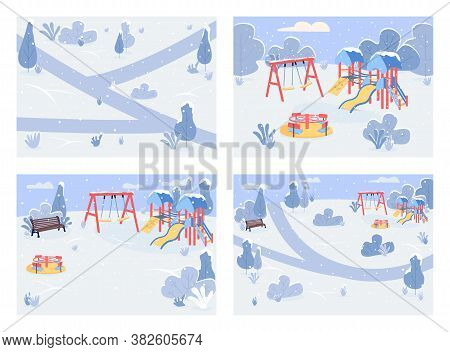 Public Park In Winter Time Flat Color Vector Illustration Set. Recreational Area Covered With Snow.