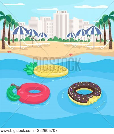 Seaside Resort And Pool Floats Flat Color Vector Illustration. Apple And Pineapple Floats. Empty Cit