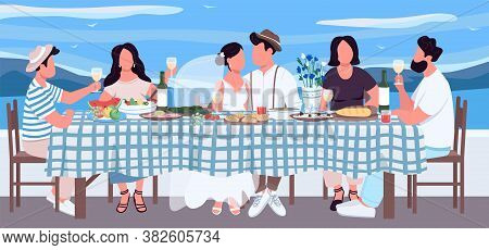 Greek Wedding Flat Color Vector Illustration. Groom And Bride At Table With Friends. Banquet For Fes