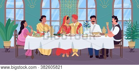 Indian Wedding Flat Color Vector Illustration. Groom And Bride At Festive Table. Traditional Banquet