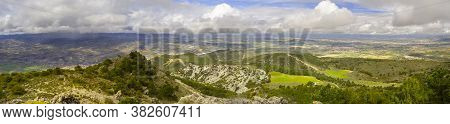 Springtime Aerial Landscape At La Silleta De Padul, Sierra Nevada, Andalucia, Spain. Dramatic Clouds
