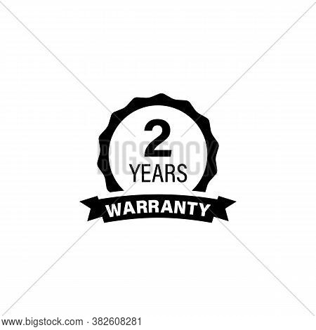 Two Year Warranty Button Label Logo Icon Sticker. Circle Jagged Edge. Vector On Isolated White Backg