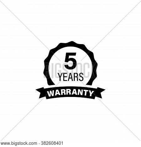 5 Years And Lifetime Warranty Label Icon. Vector On Isolated White Background. Eps 10