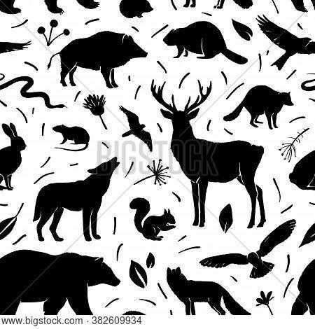 Vector Seamless Pattern With Animals. Deer, Hare, Fox, Hedgehog, Squirrel, Wolf, Bear, Snake, Beaver