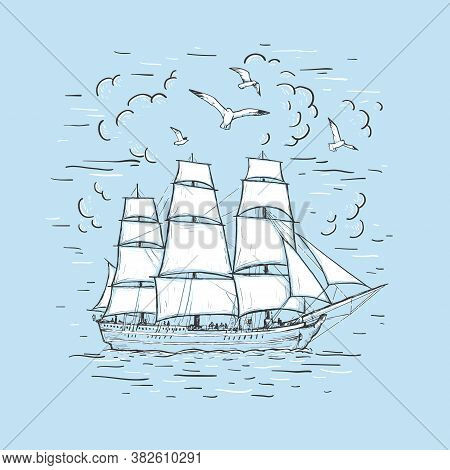 Marine Sketch Hand Drawn Vector Sailboat, Clouds, Seagulls. Vintage Frigate On The Sea On A Blue Bac