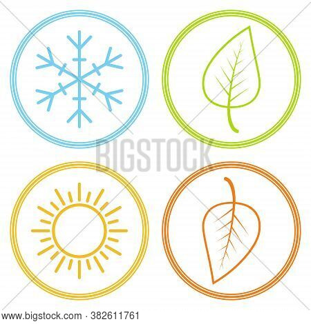 Set Icons Season Image Season, Winter Spring Summer Autumn, Vector Sign Symbol Season Snowflake Leaf