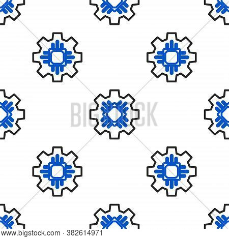 Line Processor Icon Isolated Seamless Pattern On White Background. Cpu, Central Processing Unit, Mic