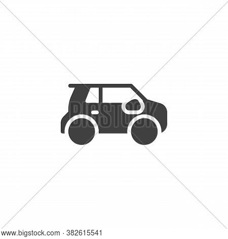Modern Electric Car Vector Icon. Filled Flat Sign For Mobile Concept And Web Design. Suv Car Glyph I