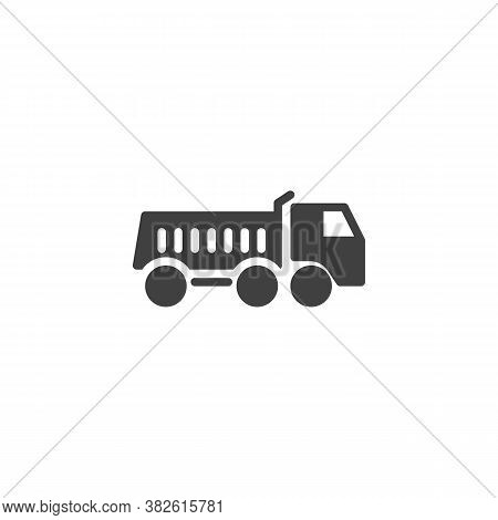 Dump Truck Vector Icon. Filled Flat Sign For Mobile Concept And Web Design. Tipper Truck Glyph Icon.