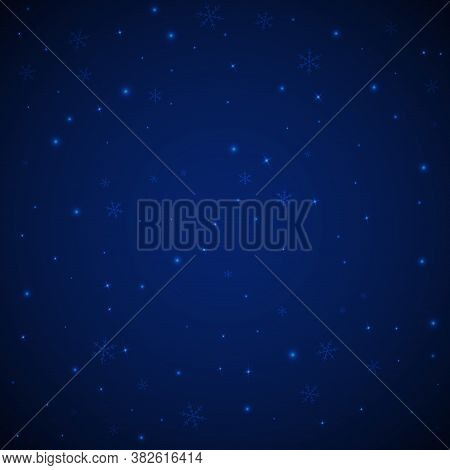 Sparse Glowing Snow Christmas Background. Subtle Flying Snow Flakes And Stars On Dark Blue Night Bac