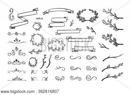 Vector Vintage Doodle Drawings Set, Black Hand Drawn Design Elements Isolated On White Background, P