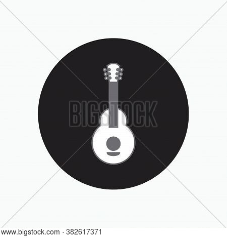 Acoustic Nylon Guitar Button Icon Isolated White Background For Hiking, Scouting, Traveler