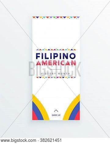 Filipino American History Month - October - Square Vector Banner Template With The Text And Colorful