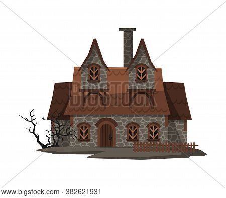 Scary Abandoned House, Halloween Haunted Cottage With Boarded Up Windows Vector Illustration On Whit