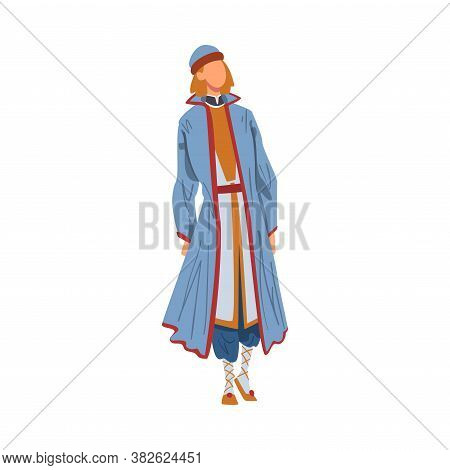 Man In Byelorussia National Lothing, Male Representative Of Country In Traditional Outfit Of Nation