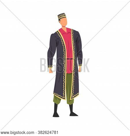 Man In Asian National Lothing, Male Representative Of Country In Traditional Outfit Of Nation Cartoo