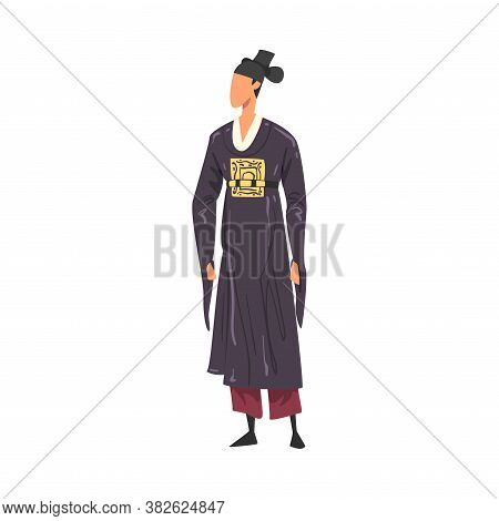 Man In Japan National Lothing, Male Representative Of Country In Traditional Outfit Of Nation Cartoo