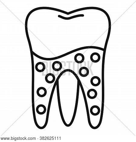 Tooth Caries Icon. Outline Tooth Caries Vector Icon For Web Design Isolated On White Background