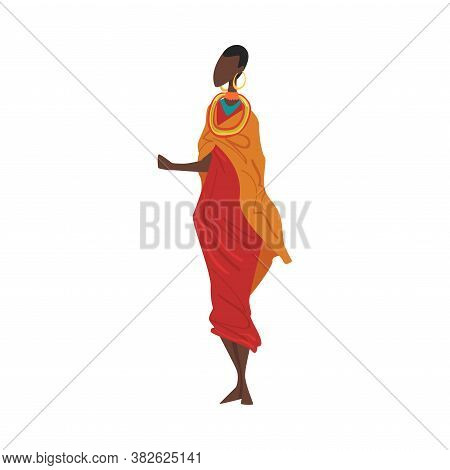 Woman In Maasai National Lothing, Female Representative Of Country In Traditional Outfit Of Nation C