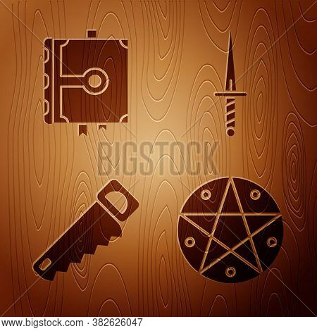 Set Pentagram In A Circle, Ancient Magic Book, Hand Saw And Dagger On Wooden Background. Vector