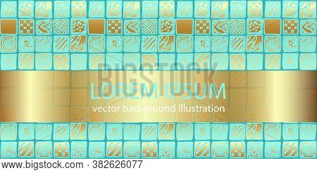 Abstract Doodle Art Vector Geometric Background. Text Lorem Ipsum. Hand Drawn Blue And Gold Patterne
