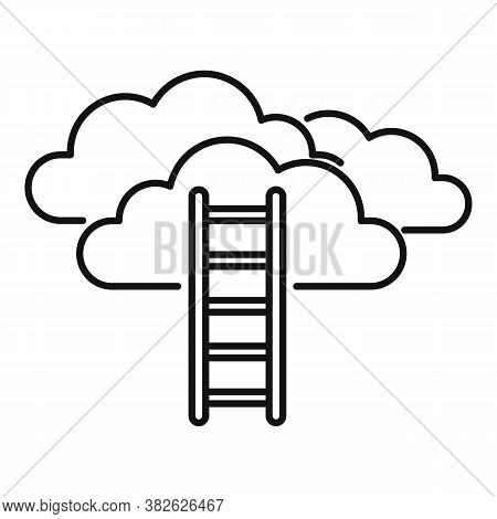 Mission Ladder Cloud Icon. Outline Mission Ladder Cloud Vector Icon For Web Design Isolated On White