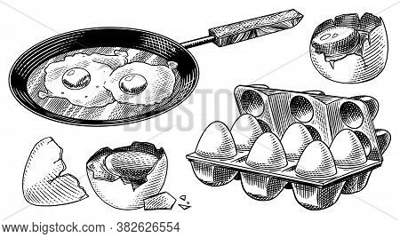 Frying Pan With Fried Eggs And Scrambled Omelette, Shell And Packaging. Farm Product. Engraved Hand
