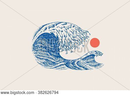 Atlantic Tidal Waves And Red Sun. Vintage Old Engraved Hand Drawn Labels. Marine And Nautical Or Sea