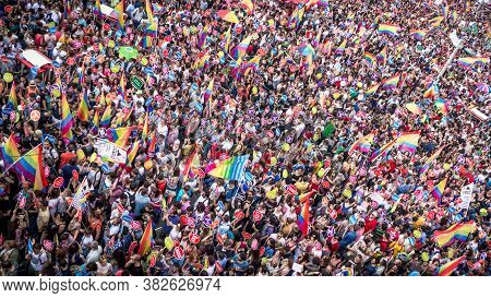 Istanbul, Turkey - June 2013: People In Taksim Square For Lgbt Pride Parade In Istanbul, Turkey. Alm