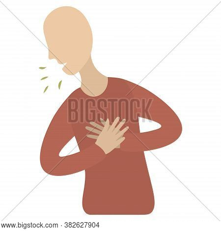 The Patient Sneezes, Coughs. A Symptom Of Various Pathologies. Flat Style. Colored Vector Icon. Pati