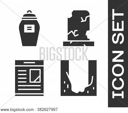 Set Cemetery Digged Grave Hole, Funeral Urn, Obituaries And Old Grave With Tombstone Icon. Vector