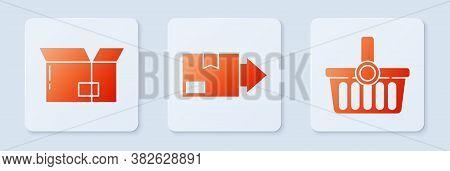Set Carton Cardboard Box, Carton Cardboard Box And Shopping Basket. White Square Button. Vector