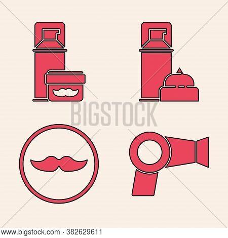 Set Hair Dryer, Shaving Gel Foam, Shaving Gel Foam And Mustache Icon. Vector