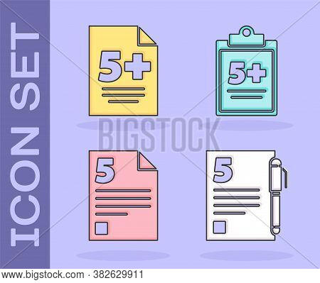 Set Test Or Exam Sheet And Pen, Test Or Exam Sheet, Test Or Exam Sheet And Test Or Exam Sheet Icon.