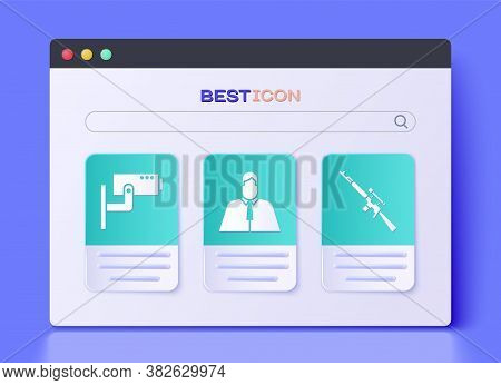 Set Lawyer, Attorney, Jurist, Security Camera And Sniper Rifle With Scope Icon. Vector