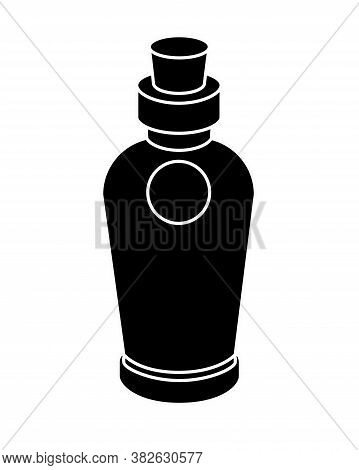 Cute Vintage Bottle With Cork - Black Vector Silhouette For Pictogram Or Logo. Small Bottle Closed W