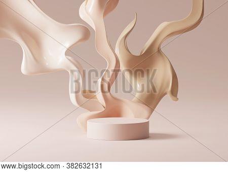 3d Beige Pedestal Podium With Liquid Foundation Splash On Bright Background. Nude Cream Fluid Flow W