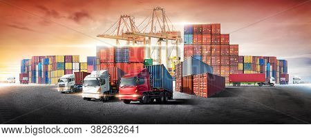 Business Logistics And Transportation Concept Of Containers Box From Cargo Freight Ship With Working