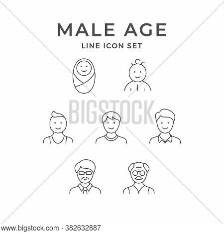 Set Line Icons Of Male Age Isolated On White. Baby, Toddler, Boy, Child, Teenager, Man, Adult, Older