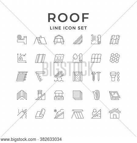 Set Line Outline Icons Of Roof Isolated On White. House Construction, Different Types Of Tile, Insul