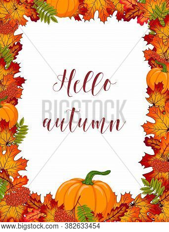 Autumn Frame With Pumpkin, Colorful Orange/red Leaves And Rowan Branch. Fall Season Border With Copy