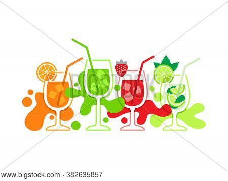 Vector Set Of Cold Drinks. Graphic Elements For Summer Menu Of Bar Or Restaurant.
