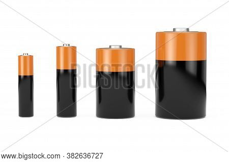 Alkaline Batteriy Icon Set With Diffrent Aaa, Aa, C, D Size And Free Space For Your Design On A Whit