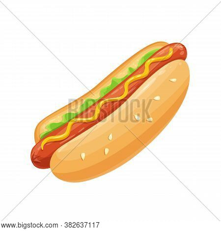 Hot Dog Cartoon Vector Icon. Fast Food Takeaway Meal With Sausage For Menu Cafe Design.