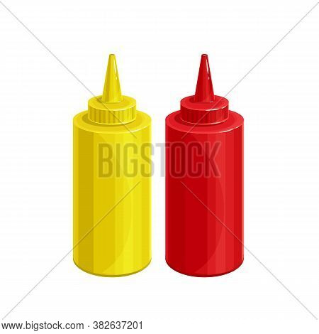 Mustard And Tonato Ketchup Outline Vector Icon. Dispensers For Mustard And Ketchup, Fast Food Toppin