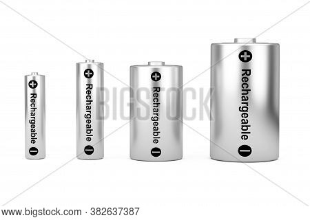 Alkaline Batteriy Icon Set With Diffrent Aaa, Aa, C, D Size And Rechargeable Sign On A White Backgro